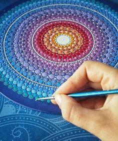 Gorgeous Flower Mandala by Elspeth McLean Mandala Art, Mandala Painting, Mandala Design, Mandala Pattern, Mandala Rocks, Flower Mandala, Dot Art Painting, Stone Painting, Painting & Drawing