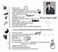 TATTOO SUMMARY WITH PICTURES FOR ZAYN