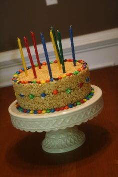 Rice Krispie and M birthday cake, for the boy who HATES birthday cake, say WHAT? Must not be my kid :)