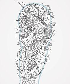 Another koi design for my client. Pez Koi Tattoo, Koi Tattoo Sleeve, Koi Dragon Tattoo, Japanese Sleeve Tattoos, Tattoo Sleeve Designs, Dragon Fish, Japanese Koi Fish Tattoo, Koi Fish Drawing, Japanese Tattoo Designs