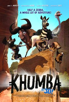 Khumba A half-striped zebra is blamed for the drought & leaves his herd in search of his missing stripes. He is joined on his quest by an overprotective wildebeest and a flamboyant ostrich; they defeat the tyrannical leopard & save his herd. New Movies In Theaters, In Theaters Now, Internet Movies, Movies Online, Carl Y Ellie, Animated Movie Posters, Movie Showtimes, Prime Movies, Emoji Movie