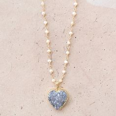 Kardía // Sparkly Amethyst Heart and Freshwater by NesoiCollection