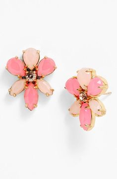 Brighten up any outfit with these pink floral Kate Spade earrings.