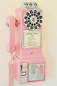 Antique pink pay phone:Would love this in my house