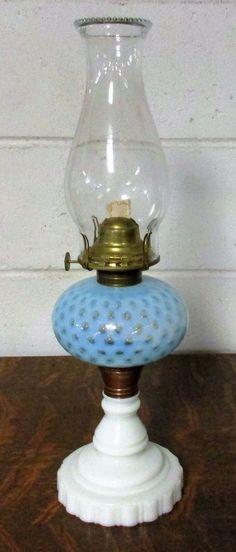 Antique Blue Opalescent COIN DOT Glass OIL LAMP Milk Glass Base