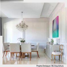Estamos encantadas com a simplicidade e elegância desta sala. Destaque para a obra de arte de sobressaiu em meio ao tom de gelo dos móveis. Por MJ Arquitetura. Ad http://ift.tt/1U7uuvq arqdecoracao arqdecoracao @arquiteturadecoracao @acstudio.arquitetura #arquiteturadecoracao #olioliteam #canalolioli #instagrambrasil #decor #arquitetura #adsalajantar #saladejantar