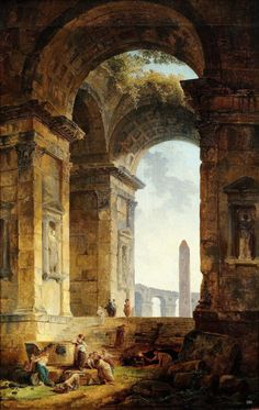 """hadrian6: """" Ruins with an Obelisk in the Distance. 1775. Hubert Robert. French 1733-1808. oil/canvas. http://hadrian6.tumblr.com """""""