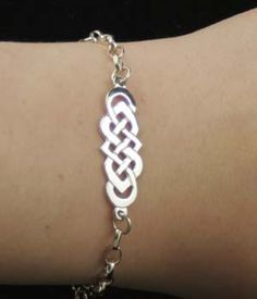 Ladies Celtic silver bracelet a simple Celtic design with chain links Handmade Jewellery, Silver Jewellery, Jewelry, Celtic Bracelet, Chain Links, Celtic Designs, Lady, Simple, Bracelets