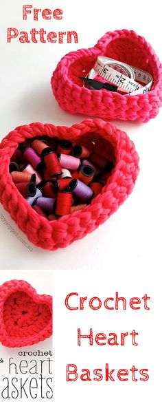 Free Crochet Heart Baskets Pattern for Storage - 101 #Crochet
