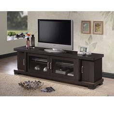 Baxton Studio Vega Contemporary 70-Inch Dark Brown Wood TV Cabinet with 2  Glass Doors 8de40f7dc2c1