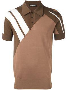 Neil Barrett Geometric Print Polo Shirt In Cuoio/bianco Polo Shirt Brands, Printed Polo Shirts, Striped Polo Shirt, Polo T Shirts, Men's Polos, Mens Brown Shirt, Shirt Men, Polo Shirt Design, Weekend Dresses