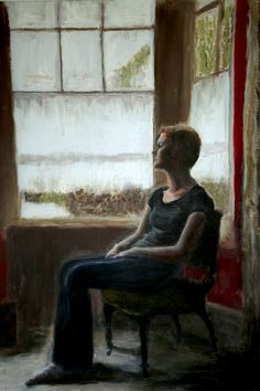 Sophie Vallance - self portrait - after Degas' 'Woman at the Window'.  This portrait accompanies a portrait of Sophie's mother and was accepted by the RBA in their annual A Level show - making Sophie  an official RBA scholar.