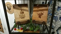 NEW FOR 2016-Handmade cutting boards made from walnut/maple (shown left), and walnut and cherry (shown right) with cusomizable artwork.  Size 11 x 7 inches.