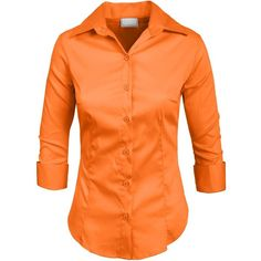 NE PEOPLE Roll Up 3/4 Sleeve Button Down Shirt with Stretch ($16) ❤ liked on Polyvore featuring tops, orange shirt, orange button up shirt, button up shirts, orange top and 3/4 sleeve tops