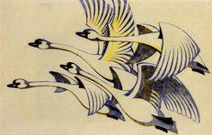 Sybil Andrews, Swans linocut, c.1930