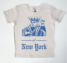 Crooklyn Kids Organic King of New York Blue on Tan 3T Shirt