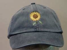 SUNFLOWER Hat – One Embroidered Women Men Fall Garden Baseball Cap – 24 Colors Mom Dad Gift Caps Available – Price Apparel Embroidery – kyliebrynn – Join in the world of pin Bone Bordado, Costura Diy, How To Wash Hats, Embroidery On Clothes, Hat Embroidery, Flower Hats, Cute Hats, Dad Hats, Mode Outfits