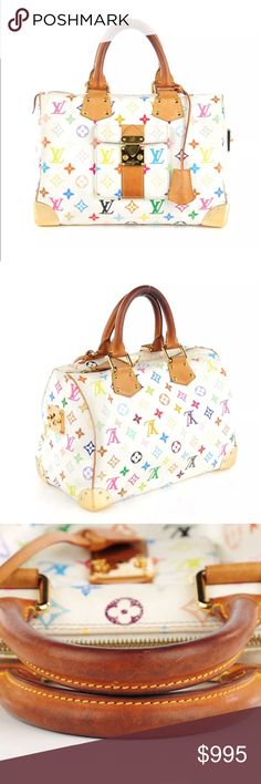 """Louis Vuitton Multicolor Speedy 30 Blanc Multicolor Louis Vuitton monogram canvas in 33 vibrant colors. Features a front pocket w/ a press lock, vachetta cowhide piping trim, sturdy rolled leather top handles & brass hardware including protective corner plates. Raspberry red microfiber interior w/ a patch pocket. Darkening on handles and minor scratch on hardware. Excellent and iconic handbag that is perfect for everyday. Date Code: SP0034 Size: Length: 12.25"""", Height: 9.5"""", Depth: 6.75""""…"""