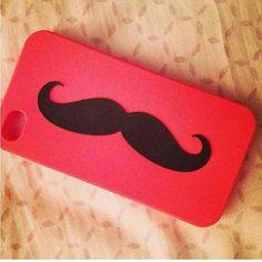Rode backcover met moustache #rood #moustache #hoesjes