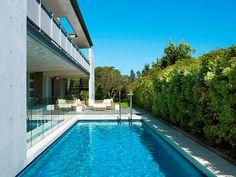 Pool and Syzygium cascade Privacy Hedge, Pool Houses, Pool Designs, Hedges, Evergreen, Swimming Pools, New Homes, Landscape, Garden