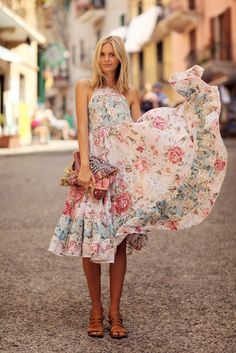 Floral print outfit.