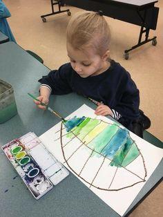 Leaves and monochromatic mixing tints and shades Leaves and monochromatic mixing tints and shades Kindergarten Art, Preschool Art, Kids Art Class, Art For Kids, Arte Elemental, Starry Night Art, Montessori Art, Ecole Art, Expressive Art