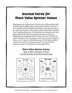 These decimal review game cards can be used with math center games or for cooperative learning activities.