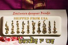 10 Long Gold Premium Bindis with Crystals. Pretty by BindisRUs Safe Cosmetics, Face Jewels, Bindi, As You Like, Etsy Store, My Etsy Shop, How Are You Feeling, Fancy, Crystals