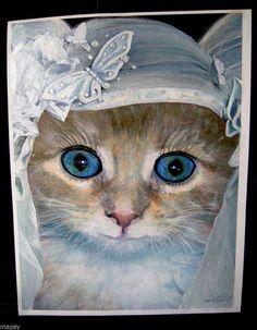 Shotgun Bride Cat Wedding Tabby Butterfly NFAC Avanti Original Painting 8x10 #Realism
