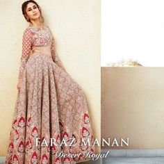 Faraz Manan Bridal Lehenga Designs are for both winter and summer season weddings because of the different fabrics used see all designs shown in the gallery. Indian Bridal Wear, Pakistani Bridal, Bridal Lehenga, Pakistani Dresses, Indian Dresses, Indian Outfits, Asian Bridal, Manado, Lehenga Designs