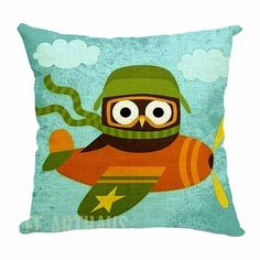 "Amazon.com - Dreamcolor 18 X 18""Cute Big Eye Owl Cartoon Pattern Cotton Linen Cartoon Pattern Decorative Throw Pillow Covers Pillowcases(ABZ008-1) -"