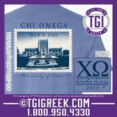 TGI Greek - Chi Omega - Dad's Day - Greek T-shirts - Comfort Colors - Game Day  #tgigreek #chiomega #dadsday