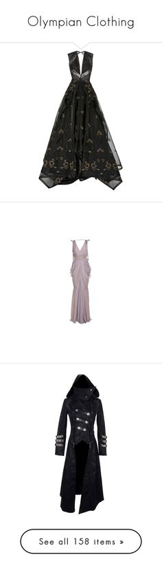 """""""Olympian Clothing"""" by foxyprism01 ❤ liked on Polyvore featuring dresses, gowns, zac posen, long dresses, black, long v neck dress, embroidered dress, long embroidered dress, embroidered lace dress and lace ball gown"""