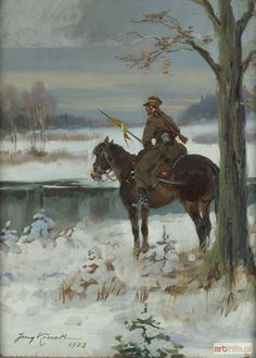 Kossak, Jerzy Cavalry Sentry in Snow Crimean War, Art Graphique, Military Art, Kaito, Gravure, Various Artists, Animal Paintings, Art History, Poland