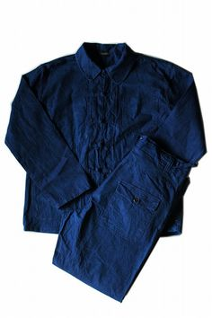 Chinese vintage work jacket and pants/set up suit/dead stock work wear/indigo/cotton/kung fu/249