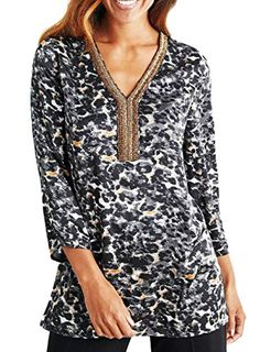 cfc703407d Ladies Animal Leopard Gold Embellished Beaded Sequin Long Tunic Top Plus  Size UK Size 26 EU