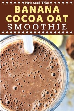 These quick and easy Banana Cocoa Smoothies are so creamy, chocolaty, and delicious, you'll feel like you're drinking a milkshake.but a healthy one! Great for breakfast or an afternoon snack. Get the recipe and give them a try! Chocolate Banana Smoothie, Oat Smoothie, Smoothie Drinks, Smoothie Recipes, Coconut Smoothie, Breakfast Smoothies, Healthy Smoothies, Healthy Drinks, Healthy Eats