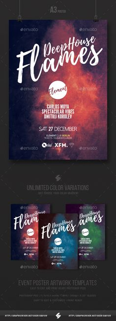 Deep House Flames - Party Flyer / Poster Template PSD A3 #chilloutflyer #danceflyer #musicflyer
