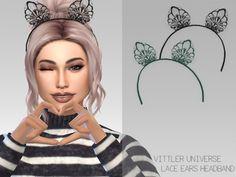 Arthurlumierecc: VittlerUniverse Lace Ears Headband • Sims 4 Downloads