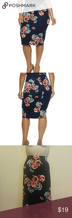 Flower skirt midi pencil plus size NWT This very cute pencil skirt, midi lenght with floral pattern full lenght is 29.made in U.S.A.fits true to size  Measurements waist 36 hips 41 Skirts Midi