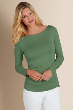 Complementary Ruched Top - Bateau Neck Long Sleeve Top, Long Sleeve Layering Top | Soft Surroundings