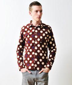 Dot Pattern Long Sleeve Nel Shirt(Burgundy)