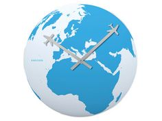 world map clock with airplanes for the clock hands! <3