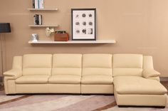 Cofonia Modern Nude Leather Corner Sofa(1+3+left chaise) - MelodyHome.com