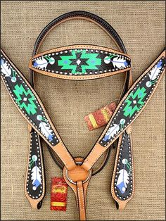 BHPA583-HILASON WESTERN LEATHER HORSE HEADSTALL BREAST COLLAR HAND PAINT BLACK GREEN