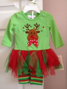 Bonnie Baby Christmas Reindeer Baby Girl 2-Piece Outfit 3-6 Months *NWT!!!
