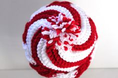 Peppermint Swirl Slouch Hat - Red and White Candy Cane Crochet Hat, Holiday, Christmas Bright and cheerful candy cane striped beanie in a