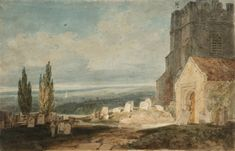 Joseph Mallord William Turner 'A Church and Churchyard near a River or Lake, with an Extensive Landscape Beyond', - Graphite and watercolour on paper - Dimensions Support: 336 x 219 mm - Collection - Tate List Of Paintings, Oil Paintings, Turner Watercolors, English Romantic, Joseph Mallord William Turner, Watercolor Artists, Watercolour, English Artists, Classic Image