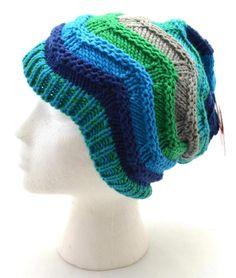 SO Women Slouch Beanie Blue Green Gray Dark Blue Zigzag Wave Knit 3514