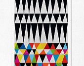 Triangles N.2. (colourful & black). Geometric large print (A3). (Special offer: Get a 2013 calendar for free). €12,00, via Etsy.